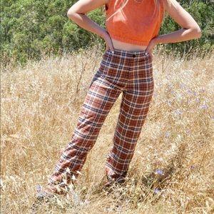 Brandy Melville Orange Plaid Pants